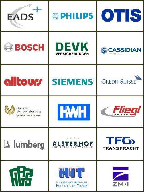 Referenzen - Kundenlogos - Firmenlogos mit Gravur
