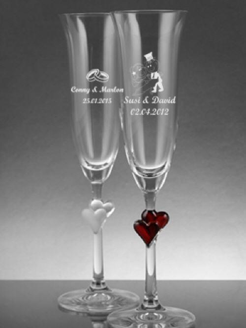Sektglas mit Gravur zur Hochzeit & Geburtstag | Gravierte Sektgläser