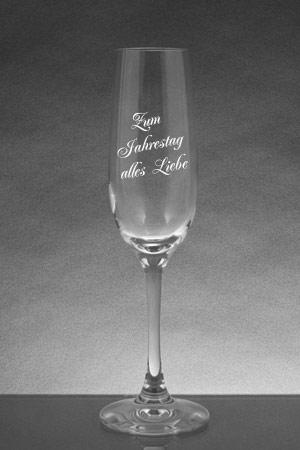 Personalisiertes Sektglas mit Text Gravur