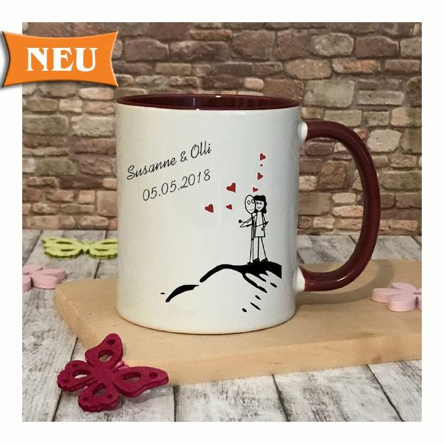 Kaffeetasse Porzellan Kaffee-Becher Tasse mit Aufdruck Traumfrau Traummann